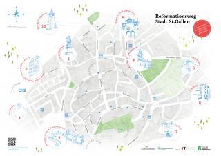 Stadtplan mit eingezeichnetem Reformationsweg